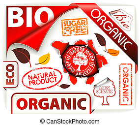 Set of red bio, eco, organic elements
