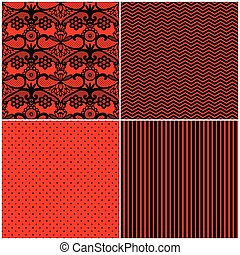 set of red black seamless patterns, simple pattern, lace