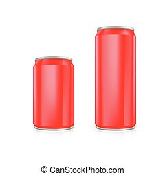 Set of red blank aluminium cans.