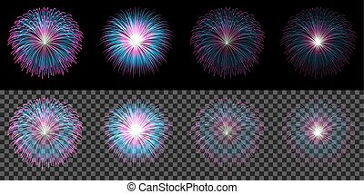 Set of red blue fireworks isolated on transparent dark background
