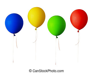 Set of red, blue, green and yellow balloons