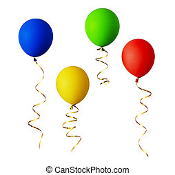 Set of red, blue, green and yellow balloons with gold ribbons