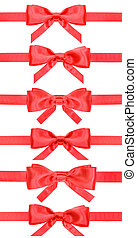 set of red bows on satin ribbons isolated
