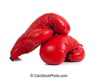 Set of Red Boxing Gloves - A set of red boxing gloves on a...