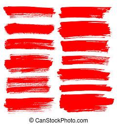 Set of red brush strokes