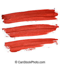 Set of red brush strokes