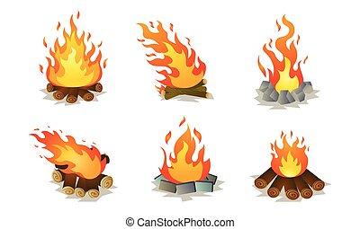 Set of red burning bonfire on nature vector illustration - ...