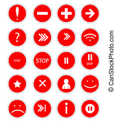 Set of red  buttons for web design
