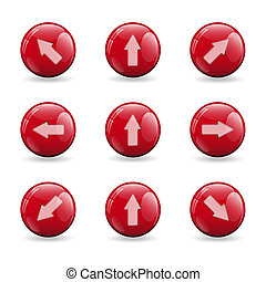 Set of red buttons with various arrows