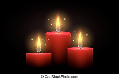 Set of red candles of different lengths. Vector element....