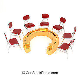 Set of red chairs and golden horseshoe isolated on a white...
