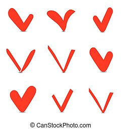Set of red Check box vector icons