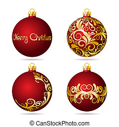 Set of Red Christmas balls on white background.