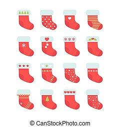 Set of red Christmas socks. Christmas stocking collection....