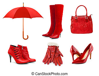 Set of red clothing and accessories isolated on white background