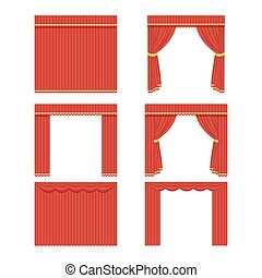 Set of red curtains to theater, cinema or processing facilities. Vector, illustration isolated on white background EPS10.