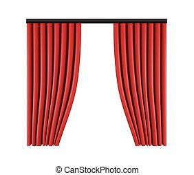 Set of red curtains to theater stage. Mesh vector illustration.