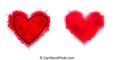 Set of red dirty heart shape icons.