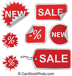 Set of red discount price labels