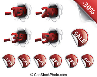 Set of red discount stickers