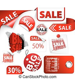 Set of red discount tickets, labels, stamps