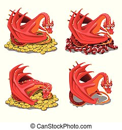 Set of red dragon guarding his treasures and golden coins...