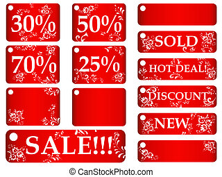red floral sales tags - set of red floral sales tags against...