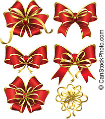 Set of red gift bows