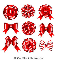 Set of red gift bows.