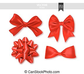 Set of red gift bows with ribbons. Vector illustration.
