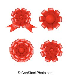 Set of red gift bows with ribbons. Vector illustration
