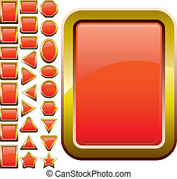 Set of red glass buttons, glossy icons, web spheres, vector illustration
