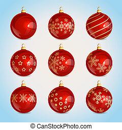 red glass christmas balls with christmas ornament