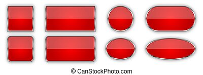 Set of red glossy vector buttons.