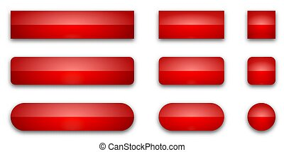 Set of red glossy web buttons. Vector buttons isolated