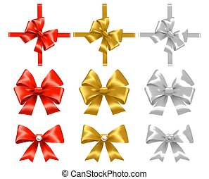Set of red, gold and white bows.