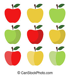 Set of Red, Green and Yellow Apple Icons
