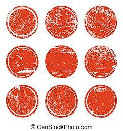 Set of red grunge texture circles