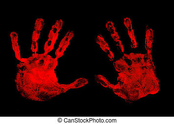 Set of red hand prints on black