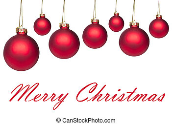 Set of red hanging Christmas balls isolated on white