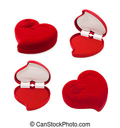 Set of red heart-shaped gift box isolated on white