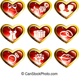 Set of red heart shaped valentines day icons - Nine high...