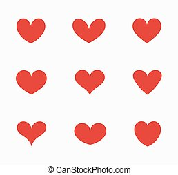 Set of red hearts icons