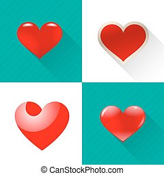 Set of red hearts.