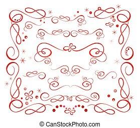 Set of red holiday ribbon