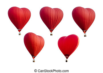 Set of Red hot air balloons in the shape of a heart isolated on white background