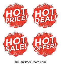 Set of red hot grunge stamp