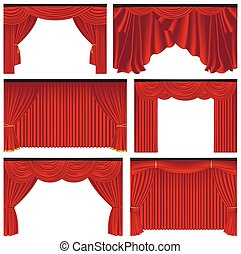 Set of red luxury curtains and draperies, realistic vector illustration
