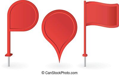 Set of red map pointers pin icons. Vector