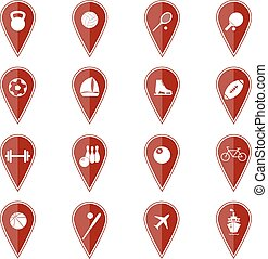 Set of red map pointers with sport icons. Vector illustration